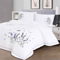 Bed linen satin cotton extra with LAVENDER embroidery MM05