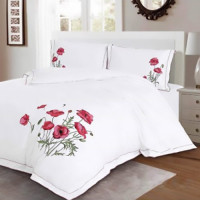 Bed linen satin cotton extra with POPPY embroidery MM04